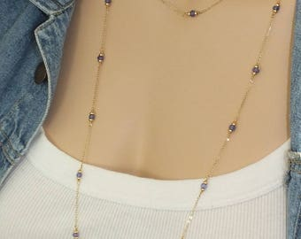 "36"" Solid Gold Tanzanite By The Yard, 14k Solid Gold Natural Tanzanite Necklace, Tanzanite Gemstone Station Necklace, December Birthstone"