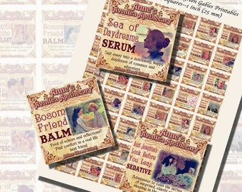 Fantasy Potion Labels -- Anne of Green Gables; ONE INCH SQUARES (25mm), 1/2 inch (13mm),3/4 inch (20mm) squares