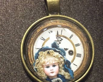Doll and Clock Necklace, Doll, Clock, Jewelry Charm Necklace Pendant, Gift, Charm Glass