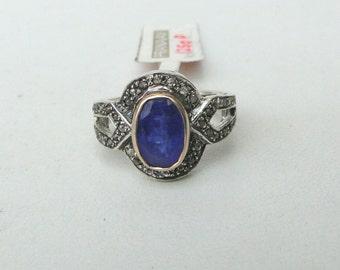 Victorian Diamond 14 K Gold,Sterling Silver, Naturaltanzanite & Diamond Ring.
