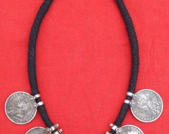 Traditional Silver Jewelry Coin Pendant Necklace India