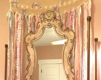 7 Ft Long Shabby Chic Curtain Rag Garland vintage lace Wedding Backdrop Pink Mint Baby Shower