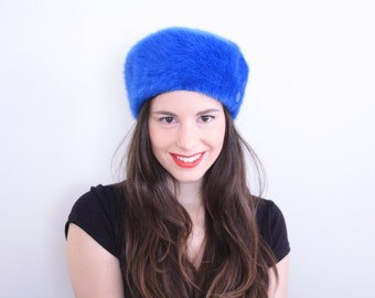 Blue Angora Fur Pillbix Hat . 1960s Angora hat angora pillbox hat Angora fur hat Fuzzy Hat 60s hat mod hat formal hat jackie o