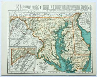 1940s Original Vintage Map Maryland Delaware Maine 14x11 Rand McNally Americana Wall Decor Art Craft Supplies