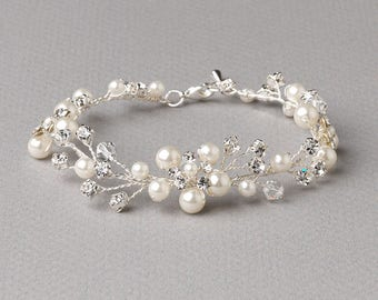 Floral Pearl Bracelet, Pearl Wedding Bracelet, Silver Bracelet, Bridal Jewelry, Swarovski Crystal Bracelet, Pearl Wedding Accessory ~JB-4827