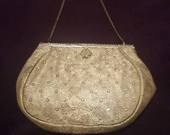 Pretty vintage 1940's - 50's diamanté brocade evening bag / bridal
