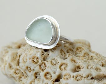 Soft Aqua Blue Sea Glass Ring, Size 8 - Genuine Sea Glass, Natural Sea Glass, Beach Glass, Beach Glass Jewelry, Beach Glass Ring