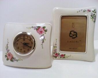 CLOCK & Picture Frame, Vintage Set,  Quartz , WHITE PORCELAIN, Pink Flowers, Green Leafing, Christmas, Clock, Birthday, home decor