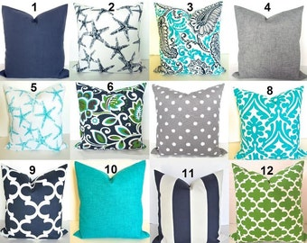 BLUE OUTDOOR PILLOW Blue Throw Pillow Covers Blue Throw Pillows Turquoise  Green 16 18 20x20 Aqua