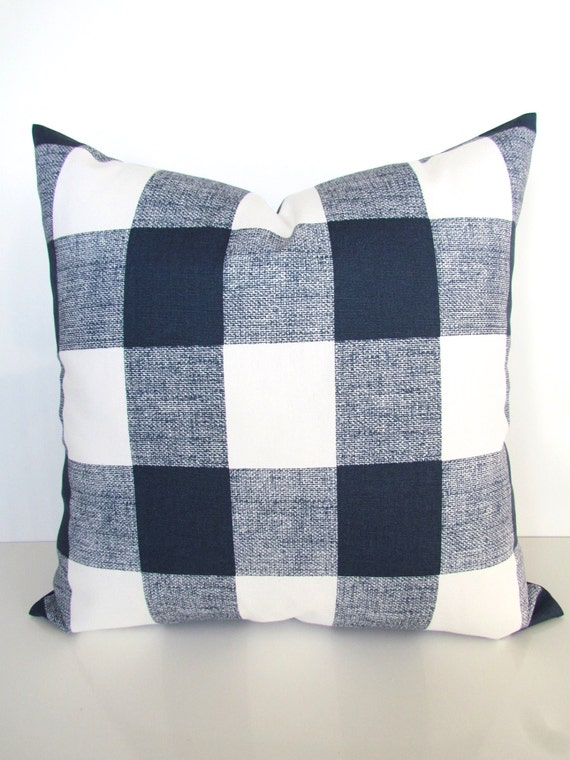 Blue Plaid Pillow Covers Blue Buffalo Plaid Throw Pillows Navy