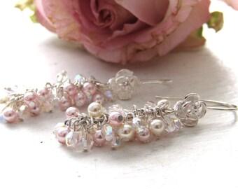 Pearl Bridal Earrings, Pink Long Pearl cluster Earrings, Rose flower ,Bridal Jewellery, Wedding Earrings, Bridal Jewelry