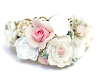 Pink Corsage, Shabby Chic Bracelet Cuff, Bridesmaid Corsage, Wrist Corsage, Prom Corsage, Vintage Corsage, Romantic Bracelet, Floral Corsage