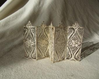 Vintage Miniature Filigree Folding Screen