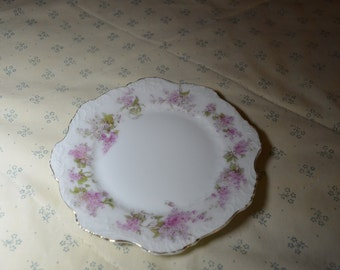 Small Vintage Plate with Pink Lilacs and a Gold Edge