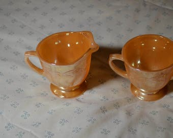 ON SALE   A Vintage Creamer and Open Sugar Bowl by Fire King's Anchor Hocking Laurel Pattern