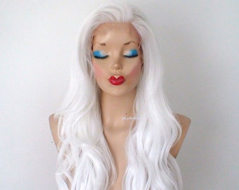 Lace Front wig. White wig. Snow white hair wig. Long wavy hairstyle wig. Durable heat friend wig. Custom wig. Cosplay wig.