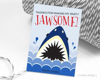 Shark Favor Tags Printable Tags Shark Thank You Tags Shark Birthday Party Tags Shark Party Tags Shark Printables Boys Birthday Decor Digital