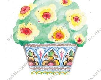 Colorful Detailed Pot Watercolor Original Painting