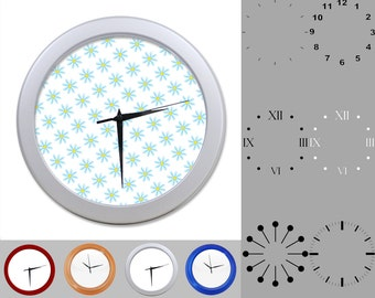 Blue Daisy Wall Clock, Simple Flower Design, Classic Floral, Customizable Clock, Round Wall Clock, Your Choice Clock Face or Clock Dial