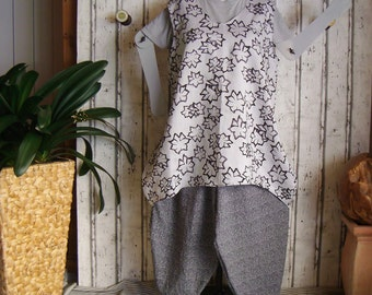 Plus sizes - US 18 - 24, UK 20 - 26 , short Balloon dress , European Layering Look - linen pure