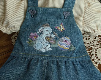 Denim romper for popular 18 inch dolls with pinstripe cotton blouse