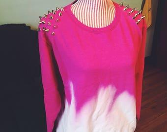 Dip Dyed Studded Hot Pink Crewneck Sweatshirt