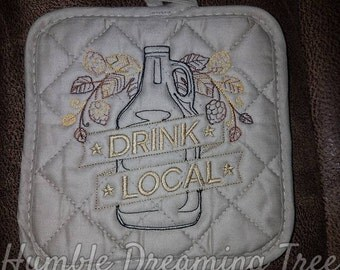 """SALE Spring Clearance! Craft Beer Growler Embroidered Kitchen Pot Holder Gift Decoration Beer Lover """"Drink Local"""" Brewery"""
