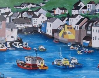 Polperro, Cornwall, Boat Print, Cornish Village, Harbour Print, Fishing Village, Polperro Print, Art Print, Seaside Print, Unframed Print