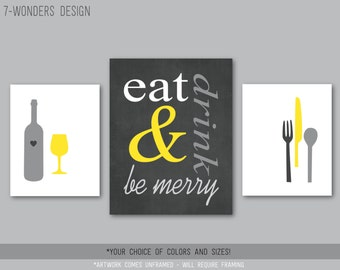 Eat Drink and Be Merry Modern Kitchen Art Print Set of (3), 2 Size Options, Yellow Charcoal Gray, Wine, Utensils, Kitchen Decor - Unframed