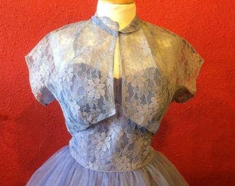 1950s Emma Domb Prom Dress Lavendar Tulle and Lace