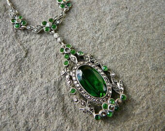 Emerald Necklace, Marcasite Necklace, Art Nouveau Jewelry, Emerald Vintage Pendant, Art Deco Marcasite, Emerald Jewelry, Antique Marcasite