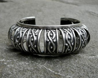 Vintage Taxco Sterling Cuff, Los Castillo Silver Bracelet 736, Mexican Silver Jewelry, Signed Taxco Silver Bangle, Vintage Sterling Bracelet
