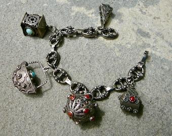 Vintage Etruscan Style Charm Bracelet, 800 Silver Italian Charms, Peruzzi Style Charm Bracelet, Italian Silver Jewelry Silver Charm Bracelet