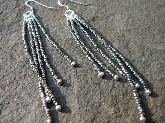 French Cut Steel Earrings, Tassel Earrings, Steel Earrings, Tassel Jewelry, Steel Jewelry, Steel Gifts, Gemstone Earrings, Gemstone Jewelry