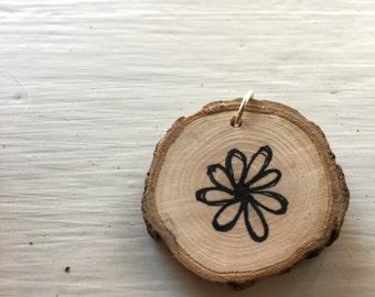 Flower Power wooden pendant!