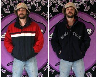 Rare Nautica Reversible Fleece Or Nylon Jacket. 90s Red Blue White Nautica Coat. Rare Retro 90s Hip Hop Warm Winter Jacket.