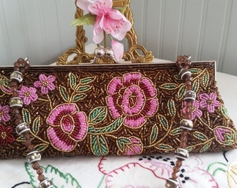 VINTAGE BEADED CLUTCH Bag Purse Floral Roses Shimmer Victorian Rustic Bridal Wedding Brown Pink Green Dress Up Gift Ideas Bridesmaids