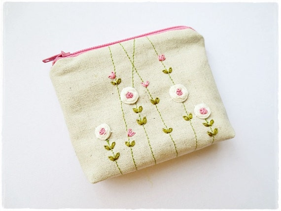 Sale ribbon embroidery small zip pouch pink rose cosmetic