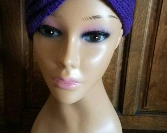 Purple Rockabilly Hand Knit Ear Warmer (Sale)