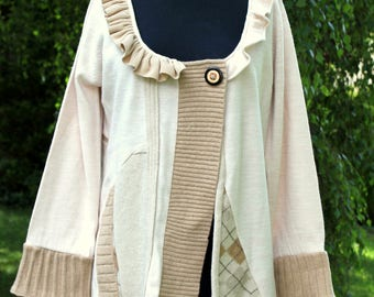 OOAK cream and fawn reconstructed cardigan altered couture