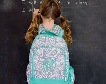 Parker Paisley Backpack - May be Monogrammed or Personalized with Embroidered Name - Back to School Book Bag