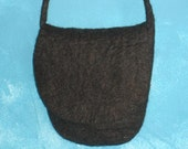 Small wet felted crossbody brown bag