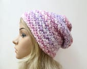 Sale! Slouchy Beanie Hat - Hand Knit Hat - Women Slouch Hat -Pink Purple White Slouch Beanie - Oversized Acrylic Slouchy - Clickclackknits
