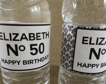 Personalized Water Bottle Labels-Sticker- Classic Couture Design with Pink or Black Damask - ANY OCCASION - Waterproof - cc5