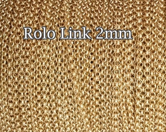 Gold Filled chain, wholesale Rolo chain link 2mm, choose 1 3 5 10 20 30 50Feet 25%Discount price bulk quantity, gold fill chain Rolo Belcher