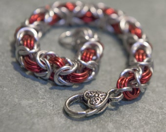 Red & Silver Byzantine Weave Chain Maille Bracelet With Silver Celtic Heart Clasp