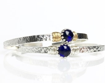 Blue Sapphire Cuff Bracelet / September Birthstone Sterling Silver Cuff / Gemstone Cuff Bracelet Gift for Mom or Wife / 14k Gold Filled