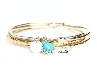 Genuine Turquoise Bracelet / Sleeping Beauty Turquoise Charm Bangle / December Birthstone / December Birthday Jewelry Gift for Her