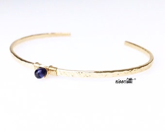 Genuine Iolite Cuff / Water Sapphire Cuff Bracelet / 14k Gold Iolite Cuff / Blue Gemstone Skinny Cuff / Alternate September Birthstone Gift