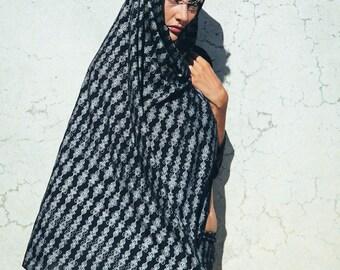 Crystaline printed scarf-Chiffon scarf-Silver crystal scarf